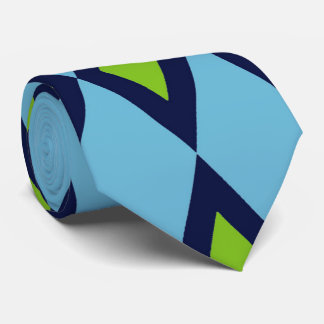 Retro Pattern Tie Blue White Green Diamonds