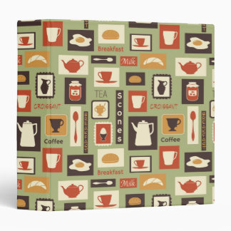 Retro pattern with kitchen dishes for breakfast 3 ring binder