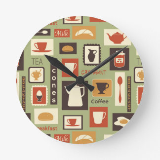 Retro pattern with kitchen dishes for breakfast round wallclock