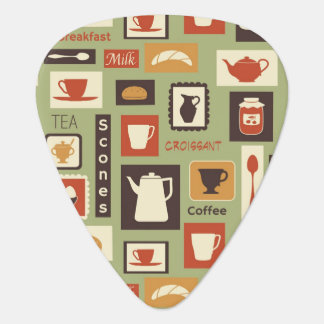 Retro pattern with kitchen dishes for breakfast guitar pick