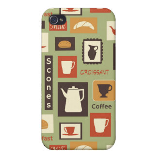 Retro pattern with kitchen dishes for breakfast iPhone 4/4S case
