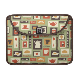 Retro pattern with kitchen dishes for breakfast MacBook pro sleeve