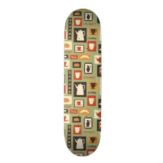 Retro pattern with kitchen dishes for breakfast skateboard deck