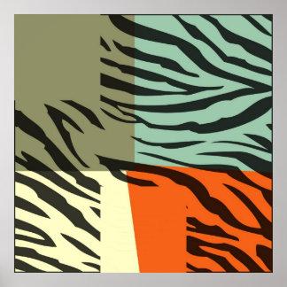 Retro Pattern Zebra Pop Art Poster