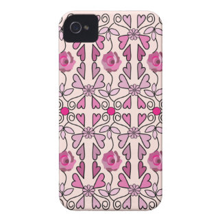 Retro patterns roses flowers hearts iPhone 4 cover