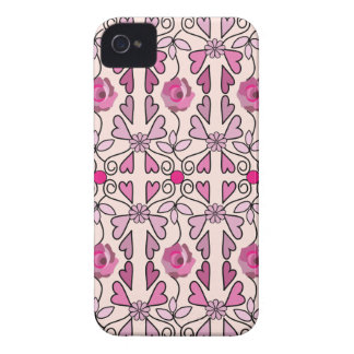 Retro patterns roses flowers hearts iPhone 4 covers