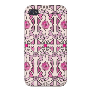 Retro patterns roses flowers hearts cases for iPhone 4