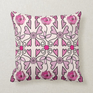 Retro patterns roses flowers hearts throw pillow