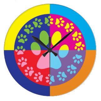 Retro Paw Prints Clock