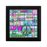 Retro Peace and Flower Power Pink Plaid Gift Box