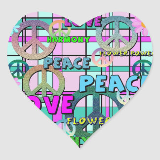 Retro Peace and Flower Power Pink Plaid Heart Sticker