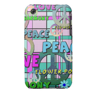 Retro Peace and Flower Power Pink Plaid iPhone 3 Cover