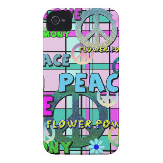 Retro Peace and Flower Power Pink Plaid iPhone 4 Cases