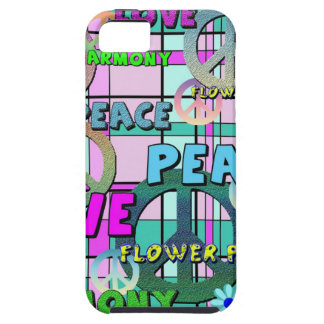 Retro Peace and Flower Power Pink Plaid iPhone SE/5/5s Case