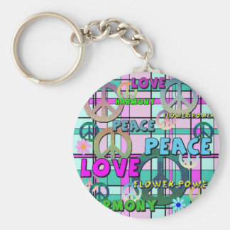 Retro Peace and Flower Power Pink Plaid Keychain