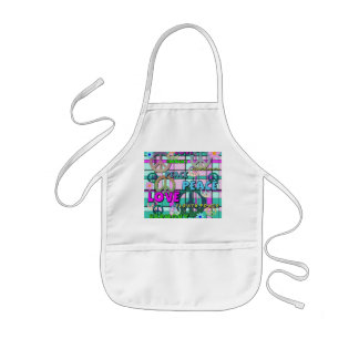 Retro Peace and Flower Power Pink Plaid Kids' Apron