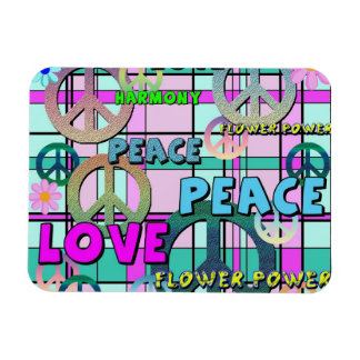 Retro Peace and Flower Power Pink Plaid Magnet