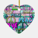 Retro Peace and Flower Power Pink Plaid Christmas Ornaments