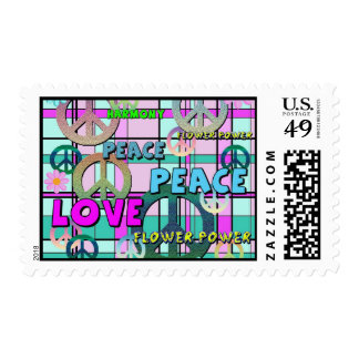 Retro Peace and Flower Power Pink Plaid Postage
