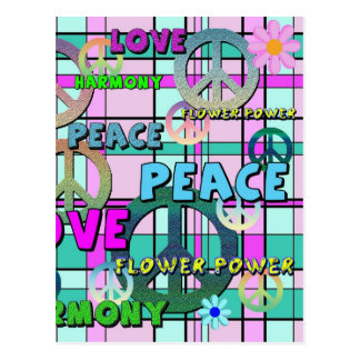 Retro Peace and Flower Power Pink Plaid Postcards
