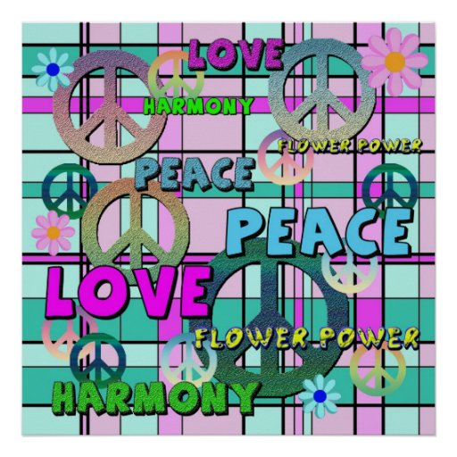 Retro Peace and Flower Power Pink Plaid Posters