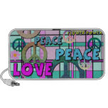 Retro Peace and Flower Power Pink Plaid Travelling Speakers