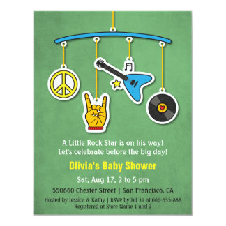 Retro Peace Guitar Rock and Roll Baby Boy Shower Card