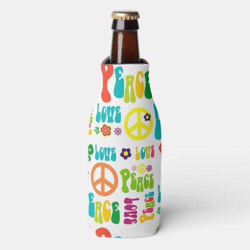 Retro Peace Hippy Sign Pattern Bottle Cooler