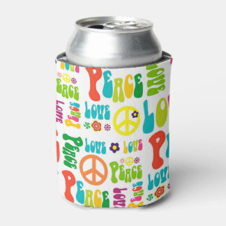 Retro Peace Hippy Sign Pattern Can Cooler