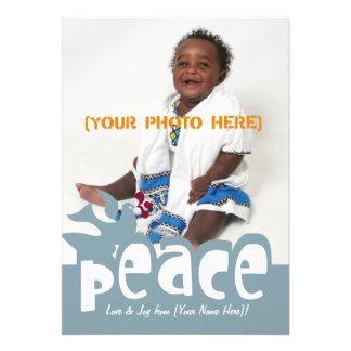Retro Peace & Joy Greeting Card Announcements