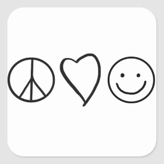Retro Peace Love and Happiness Square Sticker