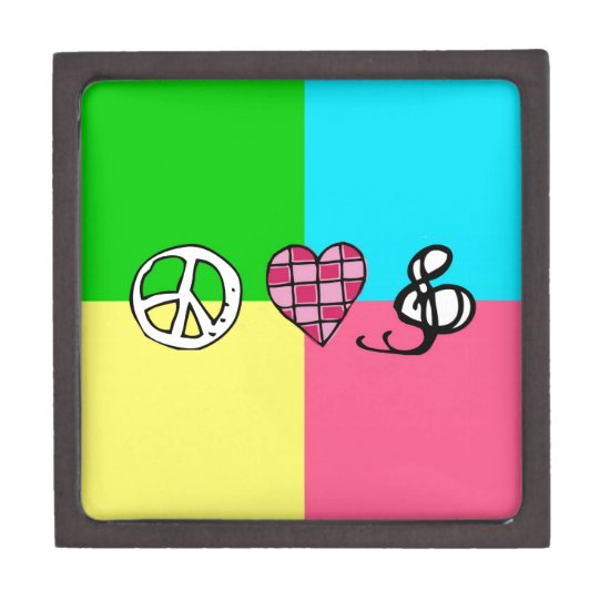 Retro Peace Love and Music Jewelry Box