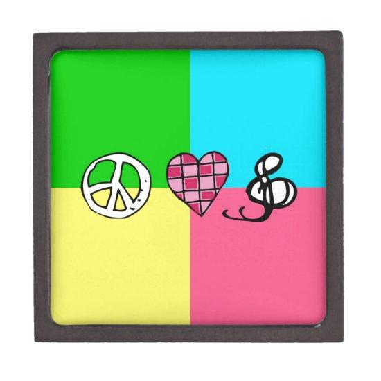 Retro Peace Love and Music Jewelry Box