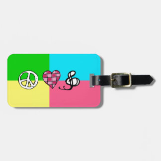 Retro Peace Love and Music Travel Bag Tag