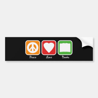 Retro Peace, Love, Books Bumpersticker (Dark) Bumper Sticker