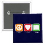 Retro Peace, Love, Books Button (Dark)