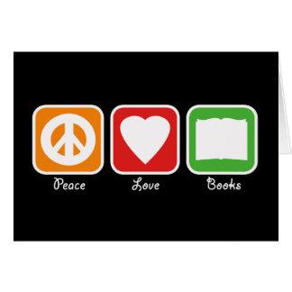 Retro Peace, Love, Books Card