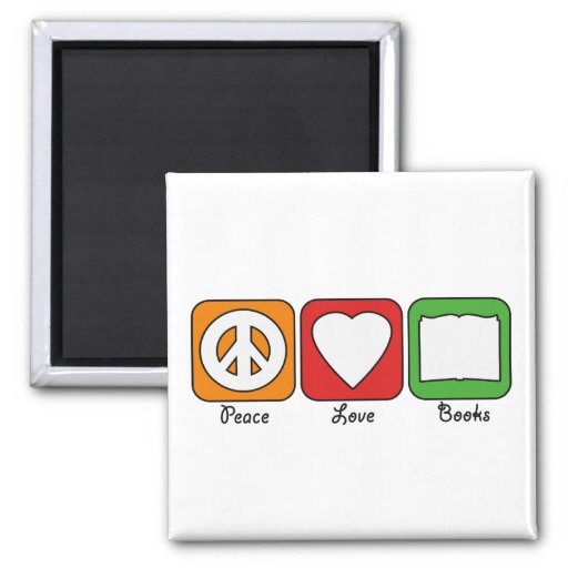 Retro Peace, Love, Books (Dark) Magnet