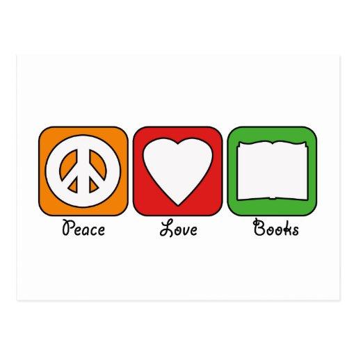 Retro Peace, Love, Books (Dark) Postcard