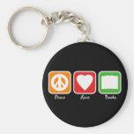 Retro Peace, Love, Books Keychain