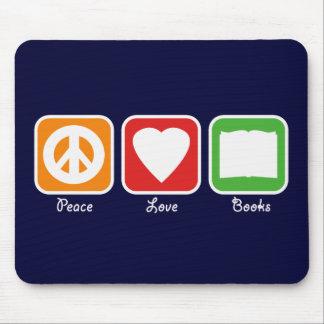 Retro Peace, Love, Books Mousepad (Dark)