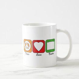 Retro Peace, Love, Books Mug