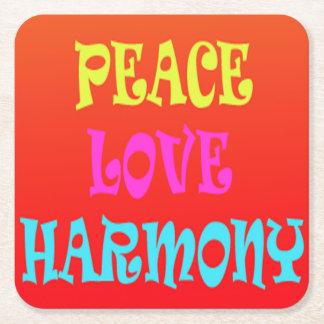Retro Peace Love Harmony Square Coasters