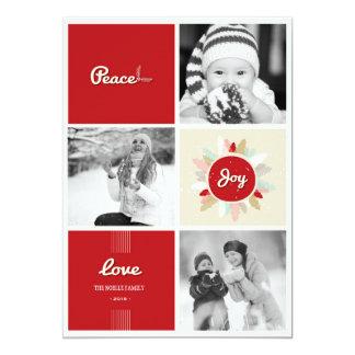 Retro Peace Love Joy Christmas Photo Holiday Card