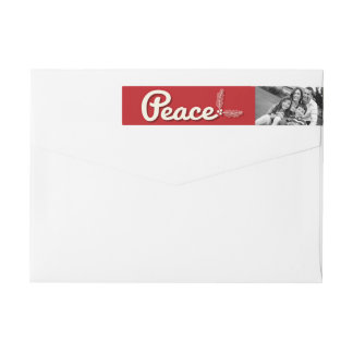 Retro Peace Love Joy Holiday Photo Address Labels Wraparound Return Address Label