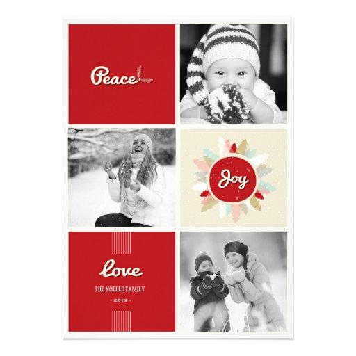 Retro Peace Love Joy Holiday Photo Greetings Card