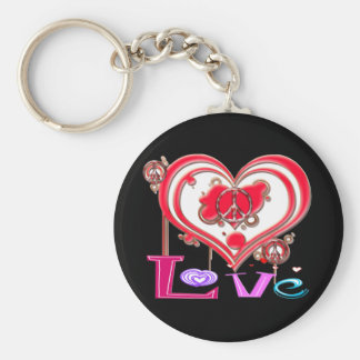 Retro Peace & Love Keychain