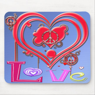 Retro Peace & Love Mouse Pad