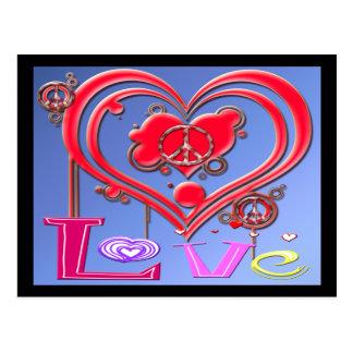 Retro Peace & Love Postcard
