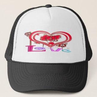 Retro Peace & Love Trucker Hat